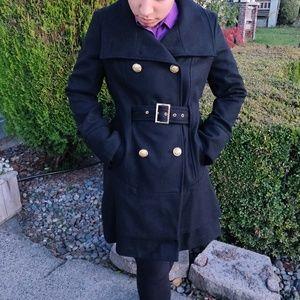 Black Gold Button Coat - Attention - Size Medium